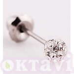 578C Pave Crystal Ball - St Steel