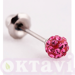 588C Pave Rose Crystal Balll - St Steel