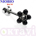 Серьги Inverness 136с Black Pearl/ Cristal 5mm NIOBIO