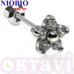 Серьги Inverness 137с Flower 5 Zircons 6mm NIOBIO