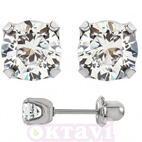 Cubic Zirconia Tiffany - 5mm Stainless Steel
