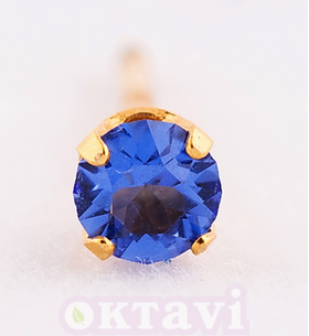 Sapphire September classic setting - 3mm 24Kt Gold Plated