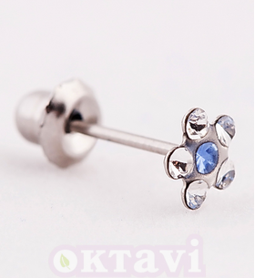 119 Flower CrystalSapphire - Stainless Steel
