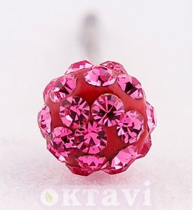 Pave Rose Crystal Ball - 4mm St Steel