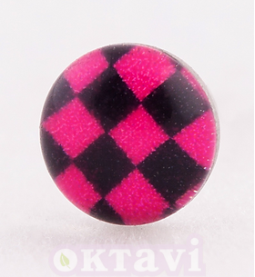 Button Style Pink Chess Board - 5mm Stainless Steel