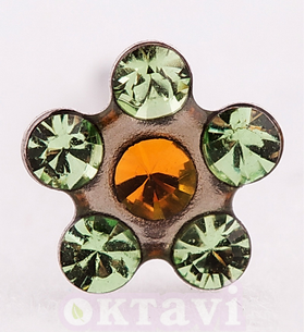 Flower PeridotTopaz - 5mm Stainless Steel