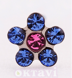 Flower Sapphire/Rose - 5mm Stainless Steel